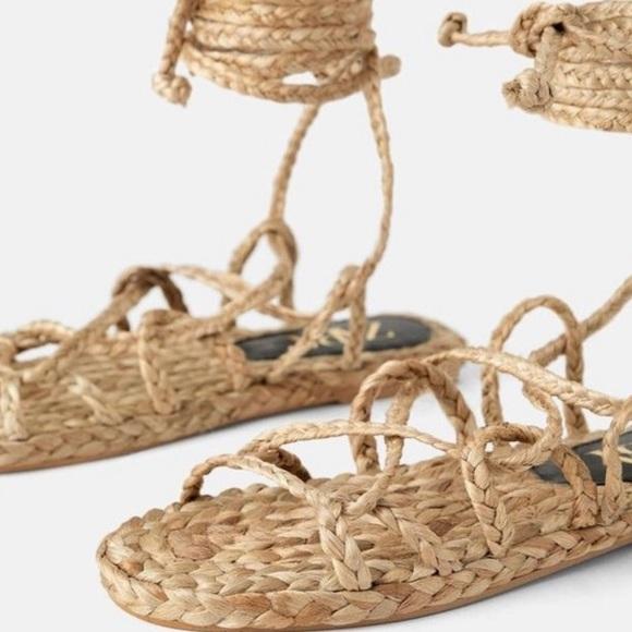 Zara natural woven strap sandals